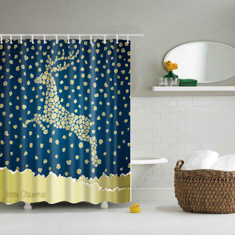 Latest Christmas Dot Deer Printed Waterproof Mouldproof Shower Curtain - S BLUE AND YELLOW Mobile