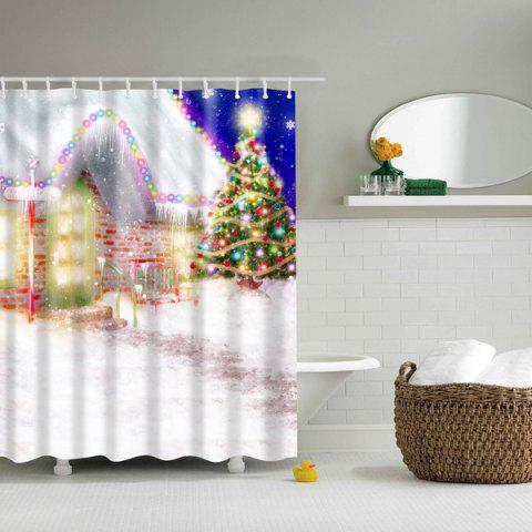 Hot Romantic Christmas Eve Printed Waterproof Mouldproof Shower Curtain COLORFUL L