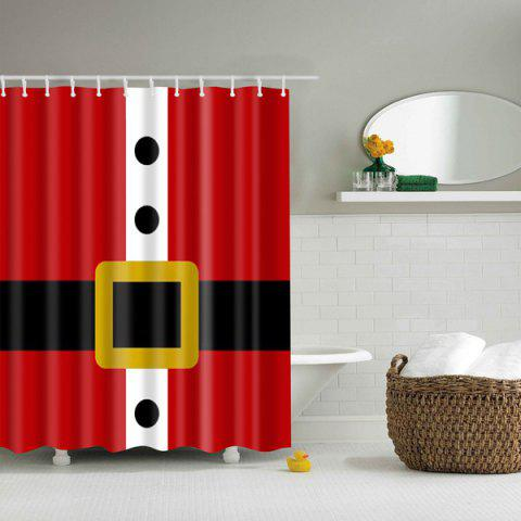 Trendy Creative Belt Pattern Waterproof Polyester Bath Shower Curtain RED L