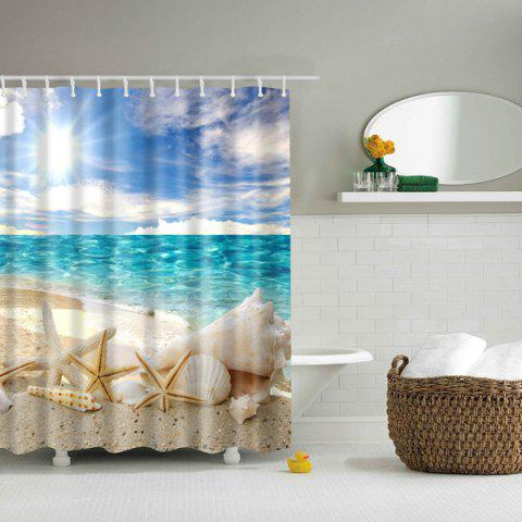 Bath Decor  Beach Shell Printed Waterproof Polyester Shower Curtain - Colormix - L