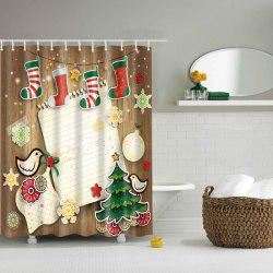3D Merry Christmas Design Waterproof Salle de bain Rideau de douche - Coloré