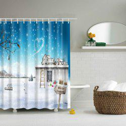 Winter Snow Scenery Printed Waterproof Polyester Shower Curtain -