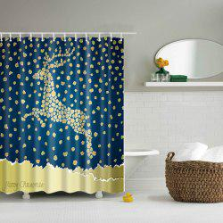 Christmas Dot Deer Printed Waterproof Mouldproof Shower Curtain - BLUE AND YELLOW L