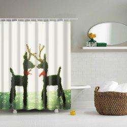 Romantic Waterproof Mouldproof Deer Lovers Printed Shower Curtain - WHITE AND GREEN L