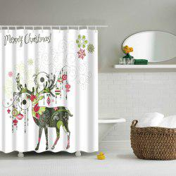 Creative Christmas Deer Design Polyester Shower Curtain