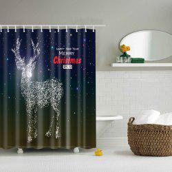 Merry Christmas Deer Polyester Shower Curtain Bathroom Decoration