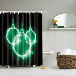 High Quality Waterproof Mouldproof Bathroom Shower Curtain - BLACK/GREEN L