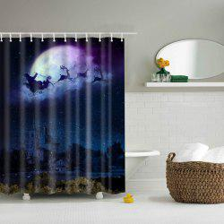 Peaceful Christmas Eve Waterproof Polyester Shower Curtain - NIGHT BLUE