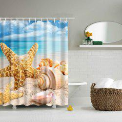 3D Sea Starfish Shell Bath Waterproof Polyester Shower Curtain -