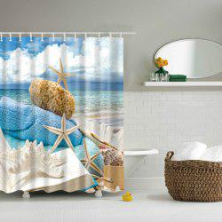 3D Beach Starfish Bath Waterproof Polyester Shower Curtain - COLORMIX L