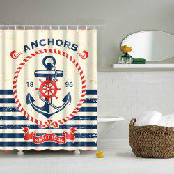 Bath Decor Waterproof Polyester Stripe Anchor Shower Curtain