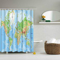 World Map Printed Waterproof Polyester Bathroom Shower Curtain - LAKE BLUE