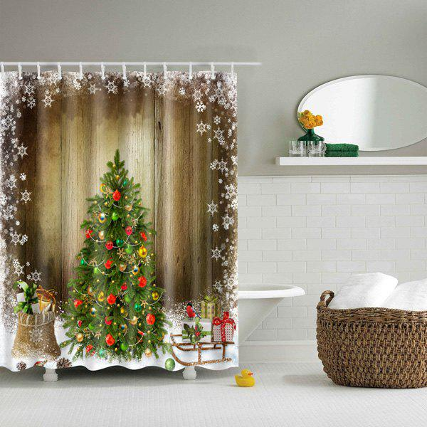 Hot Sale Waterproof Polyester 3D Merry Christmas Shower CurtainHOME<br><br>Size: M; Color: COLORMIX; Type: Shower Curtains; Material: Polyester; Weight: 0.5400kg; Package Contents: 1 x Shower Curtain;