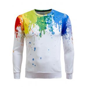 Paint Splatter Printing Long Sleeve Crew Neck Sweatshirt