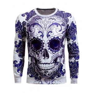 Long Sleeve Round Neck Skull 3D Printed Sweatshirt