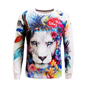 Long Sleeve Crew Neck Animal 3D Printed Sweatshirt - White - M