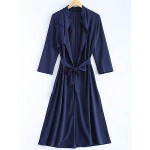 Plus Size Overlay Tie Belt Trench Coat - Cadetblue - 5xl