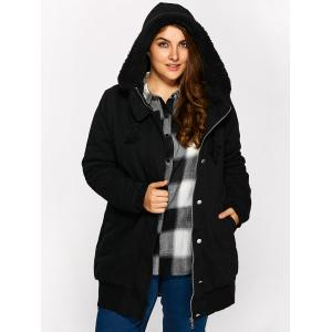 Buttoned Pockets Design Fleece Hooded Coat