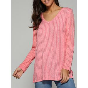 V Neck Ribbed Knitted Sweater - Light Pink - M