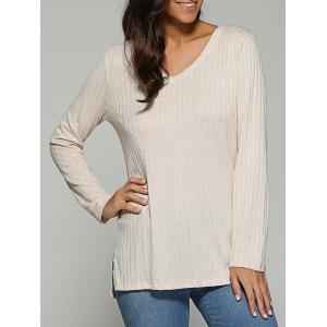 V Neck Ribbed Knitted Sweater