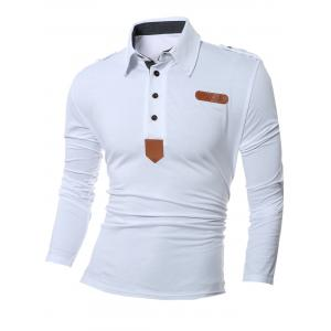 Patch Design Polo Collar Long Sleeve T-Shirt
