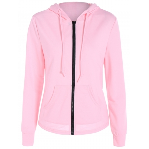 Zipper Up Pocket Design Hoodie - Pink - Xl