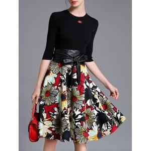 Knitted Top and  Leather Spliced Floral Flare Skirt Set - Black - S