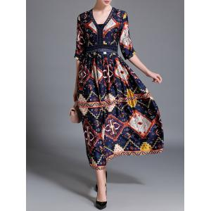 Maxi Retro Printed V Neck Long Dress