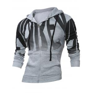 Zip Up Long Sleeve Graphic Print Hoodie - Light Gray - 4xl