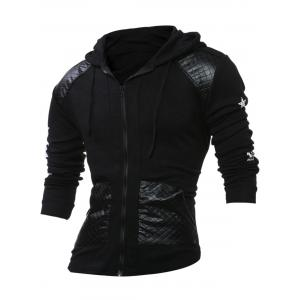 PU Leather Splicing Stars Print Long Sleeve Hoodie