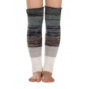 Warm Buttons Color Block Striped Knit Leg Warmers - Gray