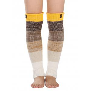 Warm Buttons Color Block Striped Knit Leg Warmers - Yellow - One Size