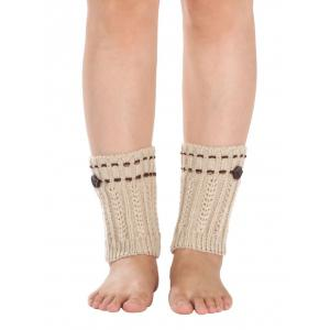 Warm Button Embellished Wheat Crochet Knit Boot Cuffs