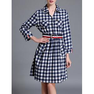 Checkered Long Sleeve Shirt A Line Dress