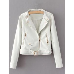 Zippered Faux Leather Biker Jacket - White - S