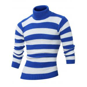 Turtle Neck Long Sleeves Striped Sweater - Blue - M