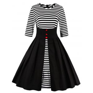 Midi Striped Formal Skater Cocktail Dress - Black - M
