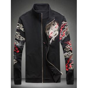 Embroidered Totem Printed Zip Up Jacket