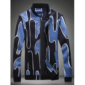 Abstract Printed Stand Collar Zip Up Jacket - Blue - L