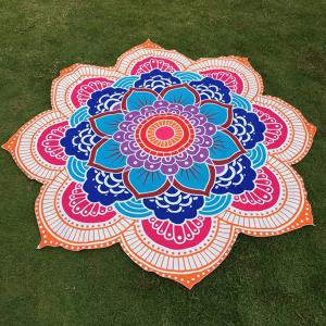 Multicolor Indian Mandala Lotus Shape Beach Throw