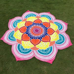 Multicolor Indian Mandala Lotus Shape Beach Throw - Pink - One Size(fit Size Xs To M)