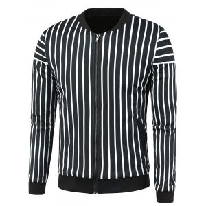 Stand Collar Zip Up Striped Jacket