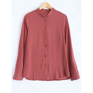 Leaf Print Button Up Shirt - Red - S