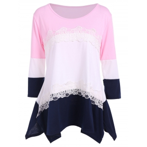 3/4 Sleeve Color Block T Shirt