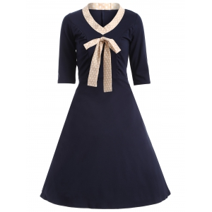 Half Sleeve Bowknot Vintage Dress