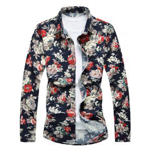 Long Sleeve Flower Printing Shirt