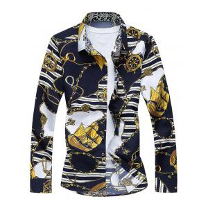 Vintage Sailboat Print Long Sleeve Shirt