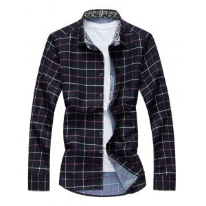 Retro Printed Collar Long Sleeve Grid Shirt
