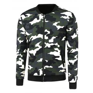 Zip-Up Camouflage Printed Jacket