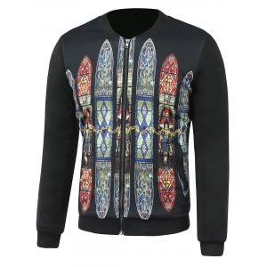 Zip-Up Church Glass Printed Jacket